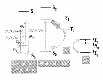 Photodynamic therapy using in situ nonlinear photon upconversion of nir light by biological medium