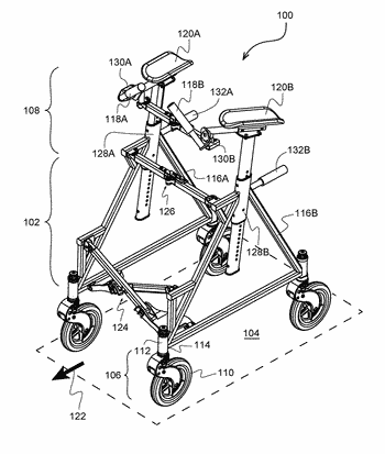 Adjustable wheel suspension assembly for a wheeled walker