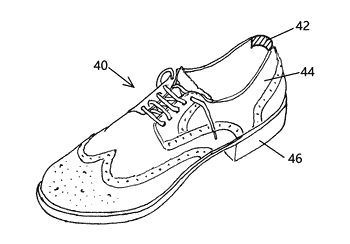 Strain-relief element for footwear articles