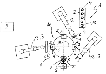 Device for heating a plurality of functional elements
