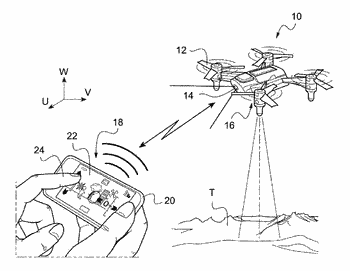 Drone equipped with a video camera sending sequences of images corrected for the wobble effect