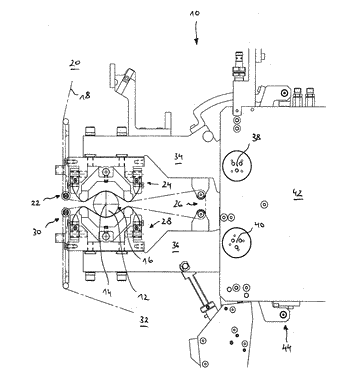 Pressing device for pressing a finishing belt against a workpiece surface