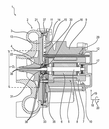 Supercharging device for a combustion engine