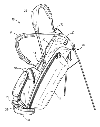 Sub-assembly for a golf bag and a golf bag system for recipient self-assembly