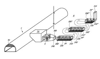 System for filtering the fresh air flowing in a tunnel and/or the exhaust gases ...