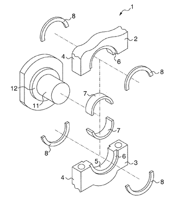 Half thrust bearing and bearing device for crankshaft of internal combustion engine