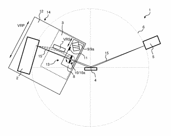 X-ray optics assembly with switching system for three beam paths, and associated x-ray diffractometer