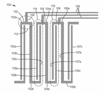 Capacitive touch sensor with z-shaped electrode pattern