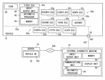 Storage condition setting device and data storage system for vehicle diagnosis