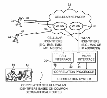 System and method for geography-based correlation of cellular and wlan identifiers