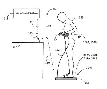 Physiological monitoring system featuring floormat and wired handheld sensor