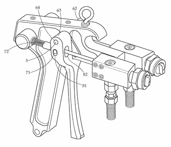 Two component airless adhesive spray gun and method of use