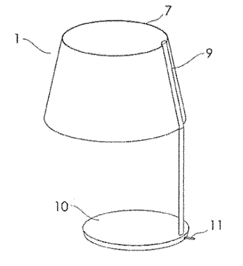Flexible oled panel fashioned to resemble a lamp shade