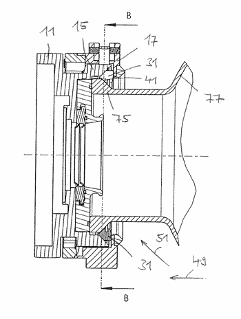 Rotary evaporator having a fastening device with clamping elements
