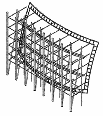 Curved screen frame and theater comprising same
