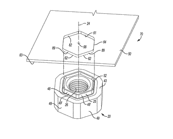 Self-attaching fastener and panel assembly, and method of attaching