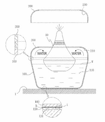 Container structure for floating type humidifier