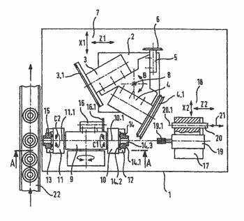 Grinding machine and method for grinding workpieces that have axial bores and planar external surfaces ...