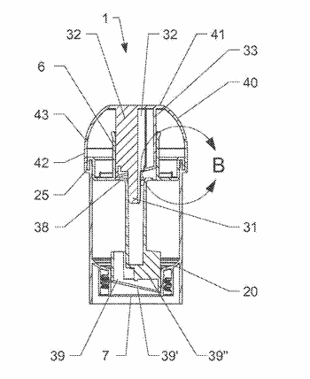 Metering device made of plastics material