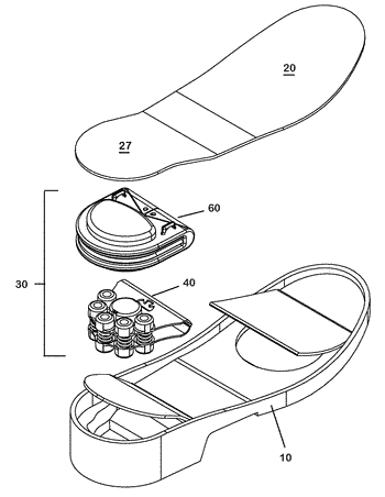 Quick change shock mitigation outsole insert with energy harvester