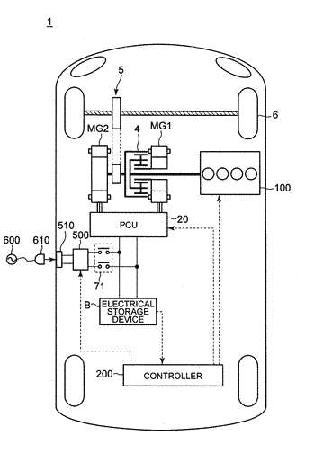 Hybrid vehicle, controller for hybrid vehicle, and control method for hybrid vehicle with a change ...