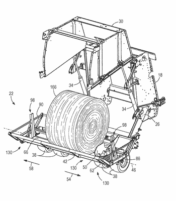 Retraction mechanism for extendable carriages of an agricultural accumulator