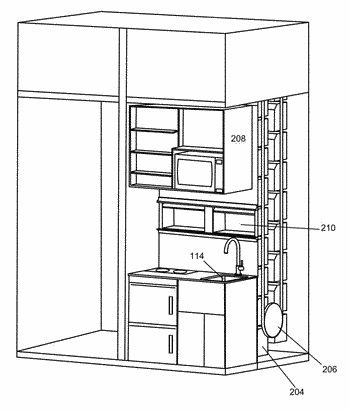 Kitchen workspace with a moving oven