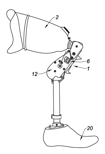 Prosthetic knee joint for an above-the-knee amputee