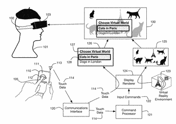 Head mounted display linked to a touch sensitive input device