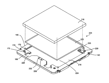 Substrate container with window retention spring