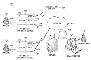 Systems and methods for determining spatial locations of patient data gathering devices