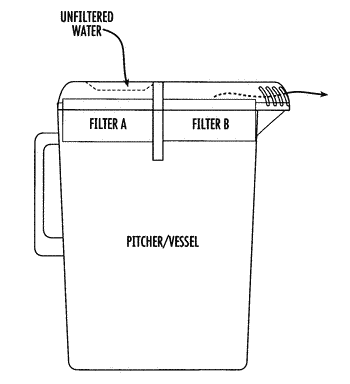 Liquid pitcher including divided fluid filter for inlet and outlet filtering
