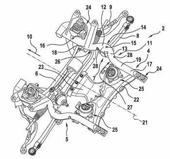 Axle support for a multi-track motor vehicle