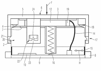 Input device with a two-part force sensor for actuation inputs and method for the production ...