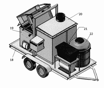 Mobile apparatus for carbon-containing materials including biohazard wastes gasification by thermal decomposition and conversion into ...