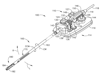 Electrosurgical device with disposable shaft having rack and pinion drive