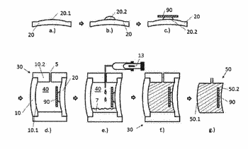 Method for producing an optical cast body having a holographic optical element, and optical cast ...