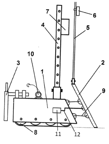 Robust device for spreading sand at predetermined dimensions and for placing ducts in a sewerage ...