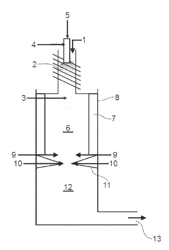 Device for thermal destruction of organic compounds by an induction plasma