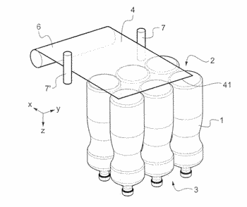 Process and device for manufacturing a pack of products comprising a handle