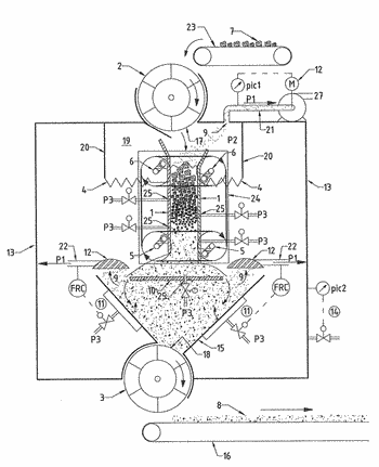 Crushing device provided with an exhaust system and method for crushing heterogeneous chunks of material