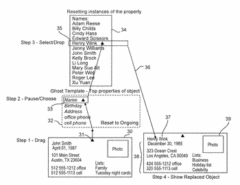 Random access to properties for lists in user interfaces
