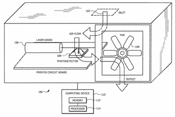 Dust sensor with mass separation fluid channels and fan control