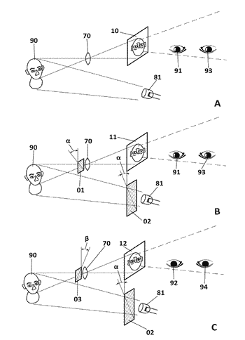 Stereoscopic reproduction system using transparency