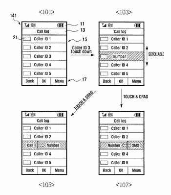Mobile device and method for executing particular function through touch event on communication related list