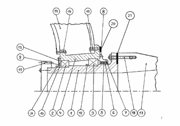 Bearing module for adjusting a rotor blade angle of attack in an underwater power plant