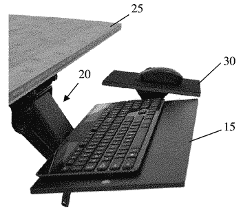 Adjustable keyboard tray and mouse pad
