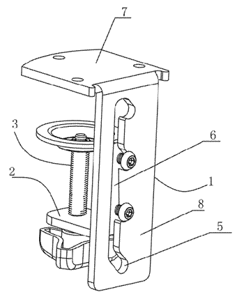 Clamping device for continuous adjustment of a display stand
