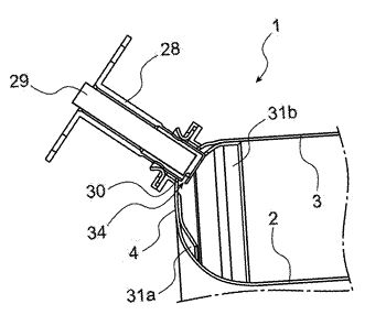 Combustion chamber of a turbine engine comprising a through-part with an opening