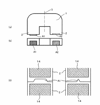 Inductance element resin case and inductance element